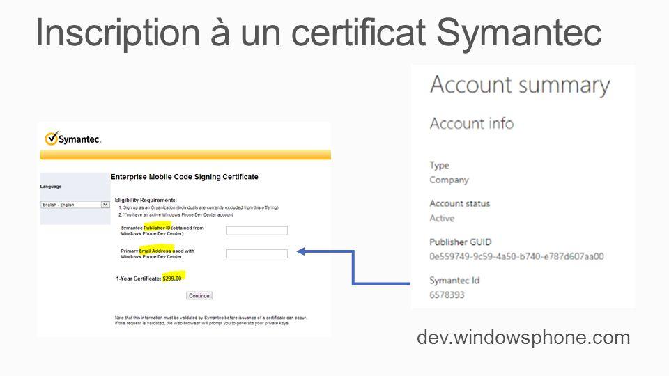 Inscription à un certificat Symantec