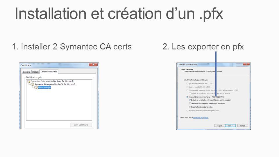Installation et création d'un .pfx