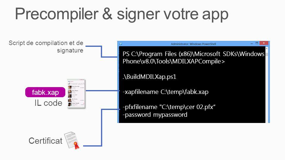 Precompiler & signer votre app