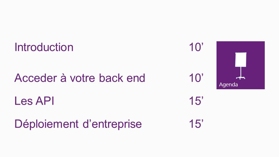 Introduction 10' Acceder à votre back end 10' Les API 15' Déploiement d'entreprise 15'
