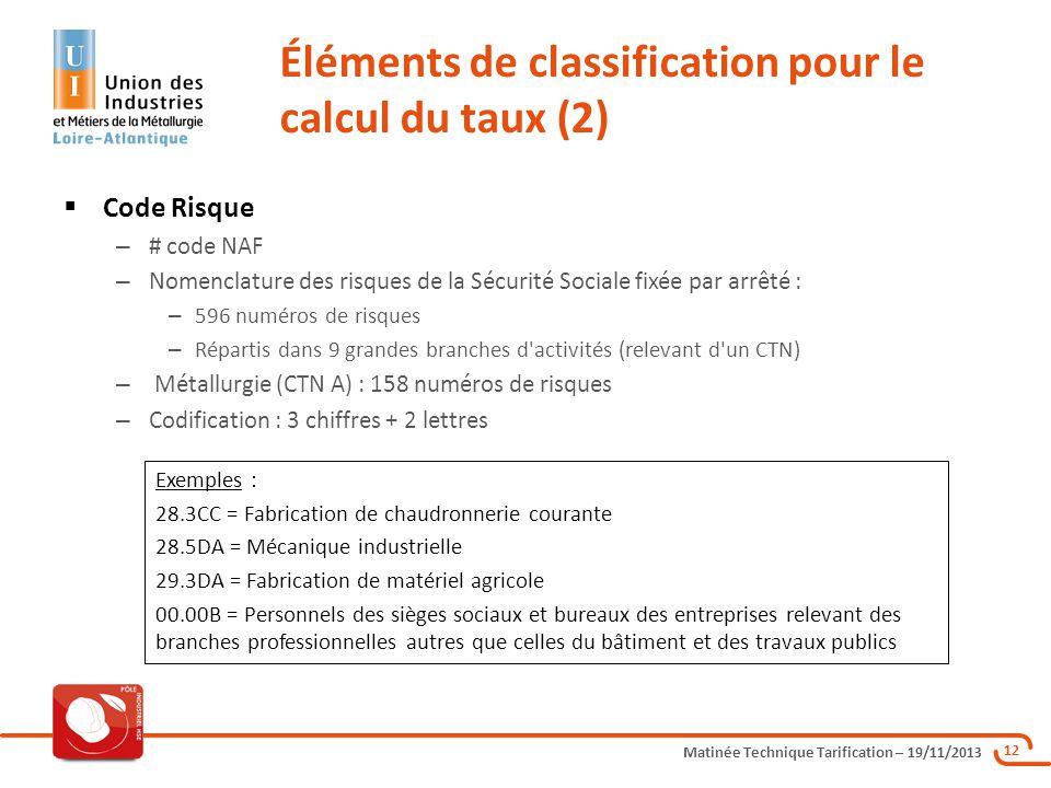 Éléments de classification pour le calcul du taux (2)