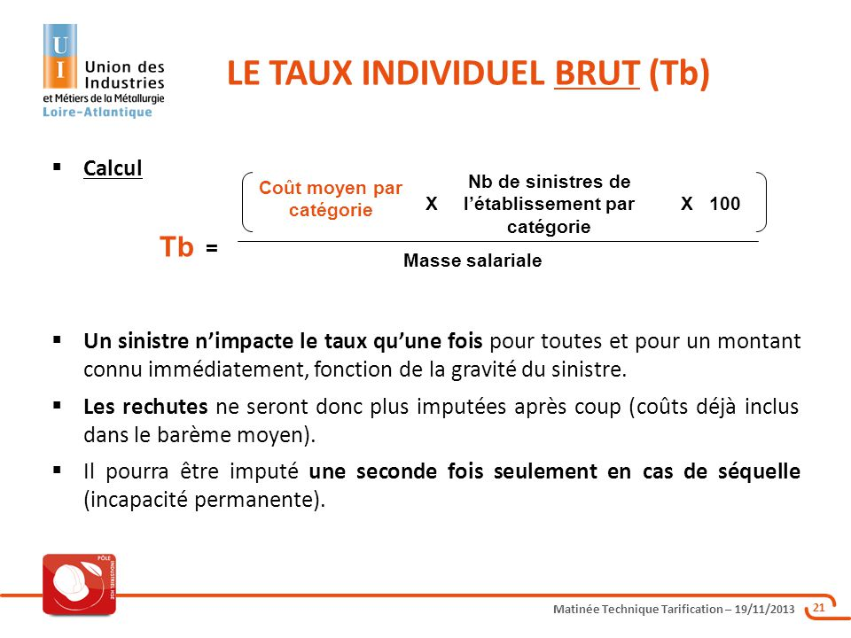 LE TAUX INDIVIDUEL BRUT (Tb)