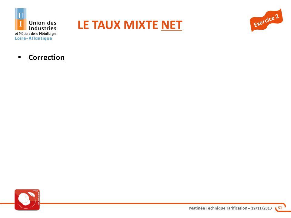 LE TAUX MIXTE NET Exercice 2 Correction