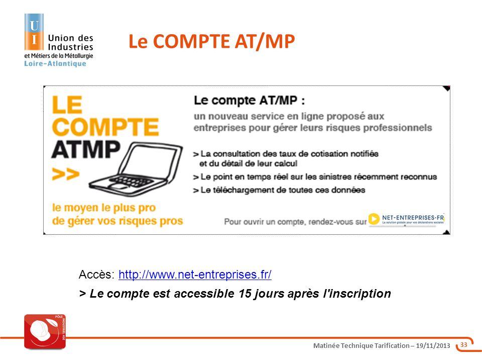 Le COMPTE AT/MP Accès: http://www.net-entreprises.fr/