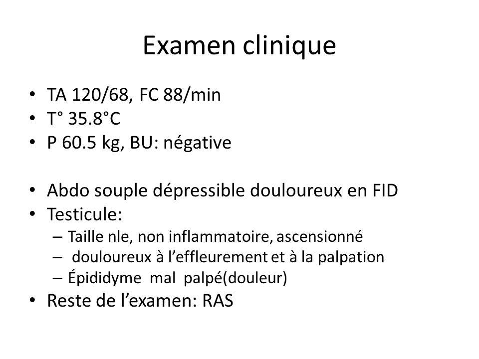 Examen clinique TA 120/68, FC 88/min T° 35.8°C P 60.5 kg, BU: négative