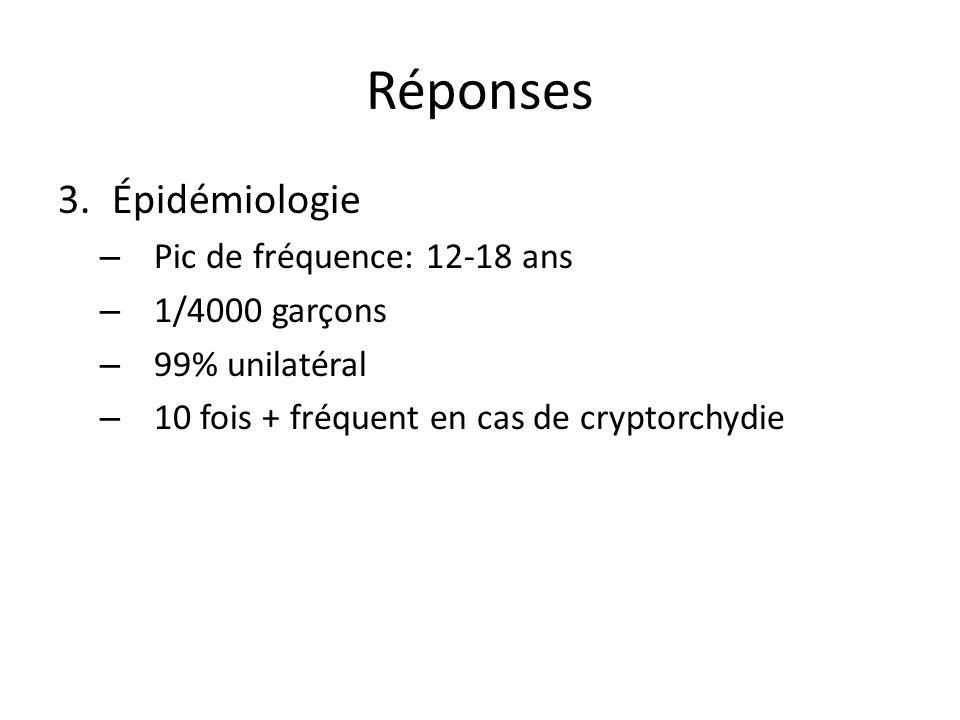 Réponses Épidémiologie Pic de fréquence: 12-18 ans 1/4000 garçons