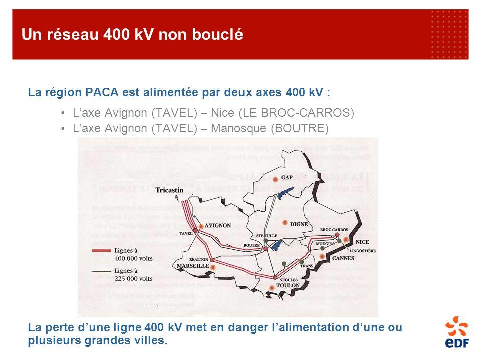 Un réseau 400 kV non bouclé La région PACA est alimentée par deux axes 400 kV : L'axe Avignon (TAVEL) – Nice (LE BROC-CARROS)
