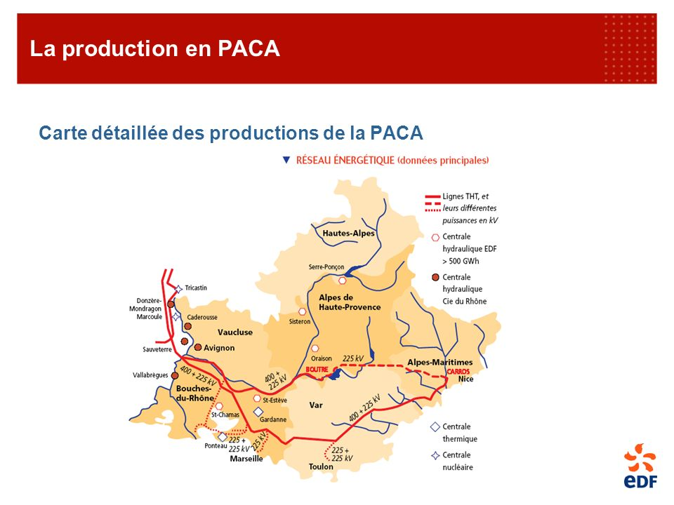 La production en PACA Carte détaillée des productions de la PACA