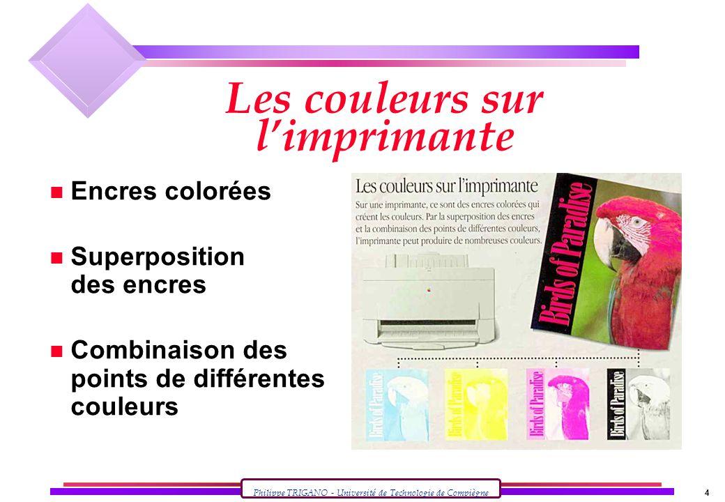 Les couleurs sur l'imprimante