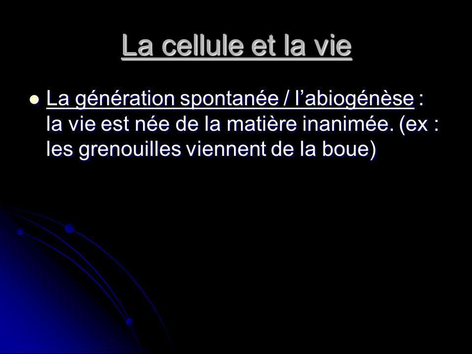 La cellule et la vie La génération spontanée / l'abiogénèse : la vie est née de la matière inanimée.