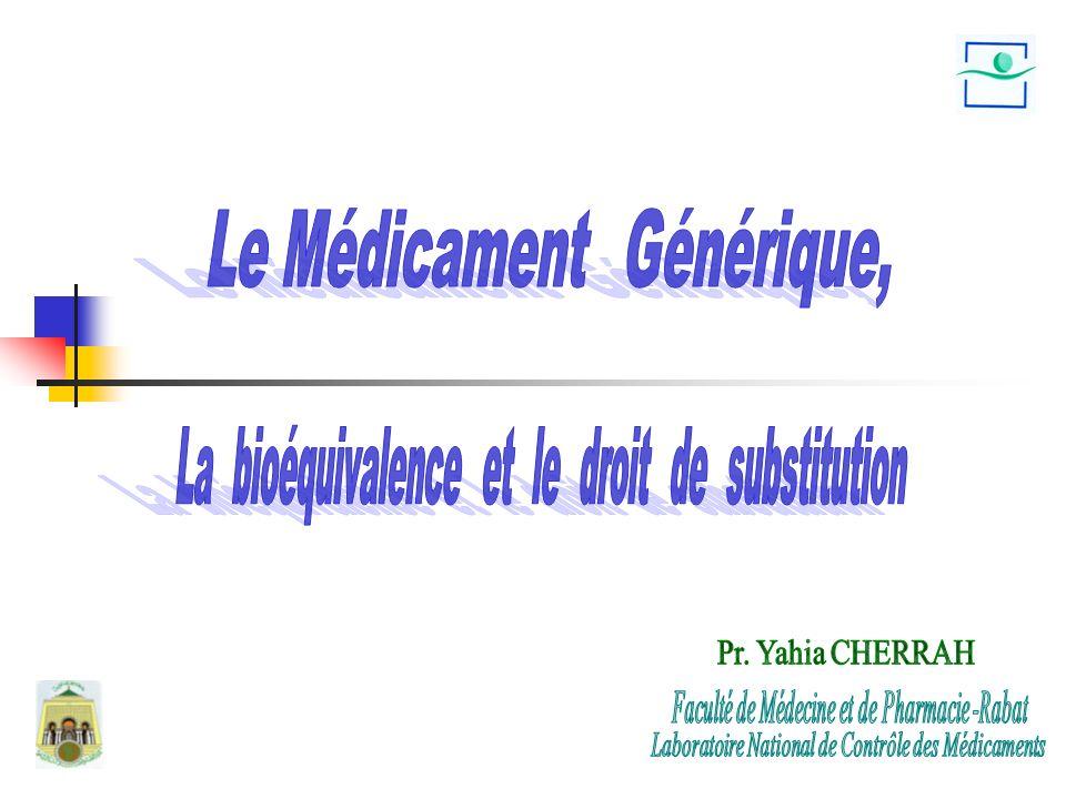Le Médicament Générique, La bioéquivalence et le droit de substitution