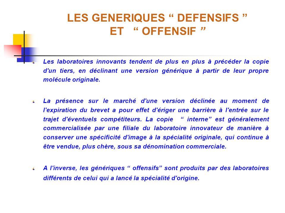 LES GENERIQUES DEFENSIFS ET OFFENSIF