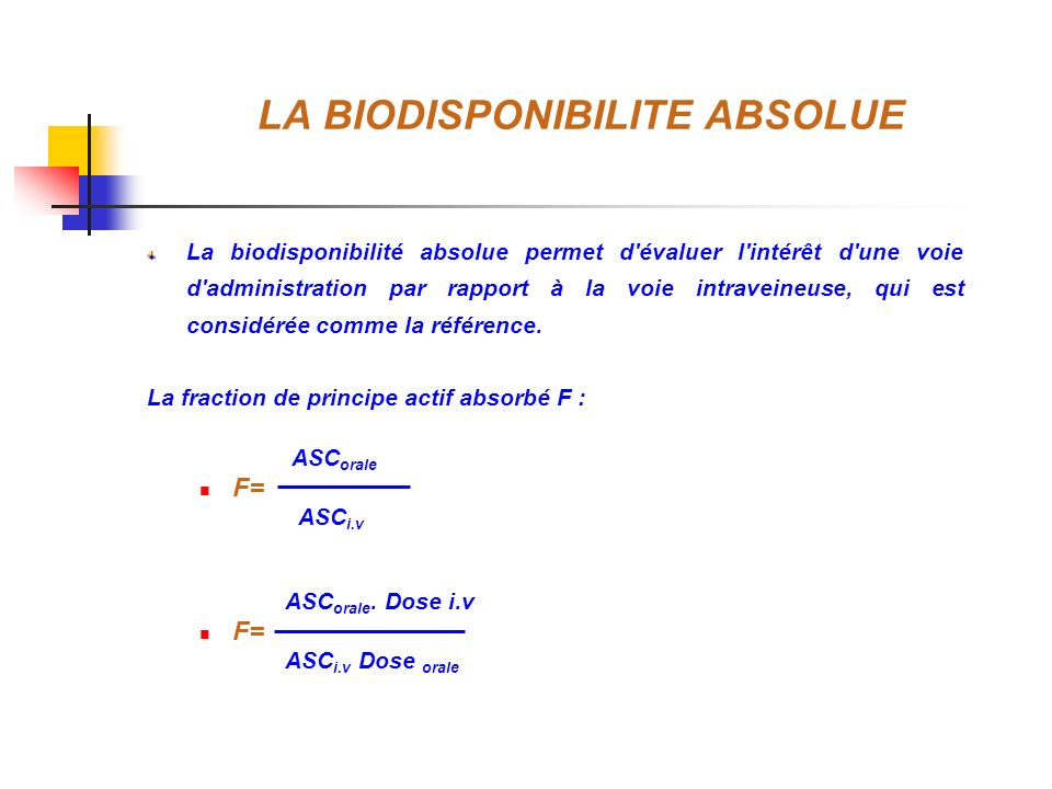 LA BIODISPONIBILITE ABSOLUE