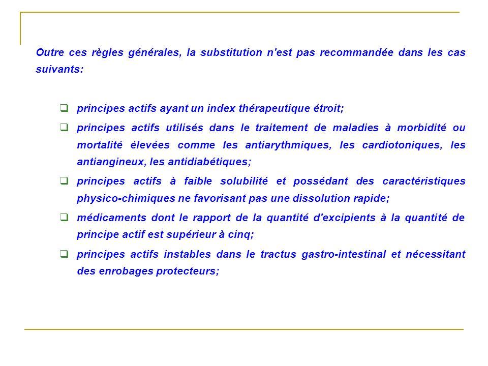 Outre ces règles générales, la substitution n est pas recommandée dans les cas suivants: