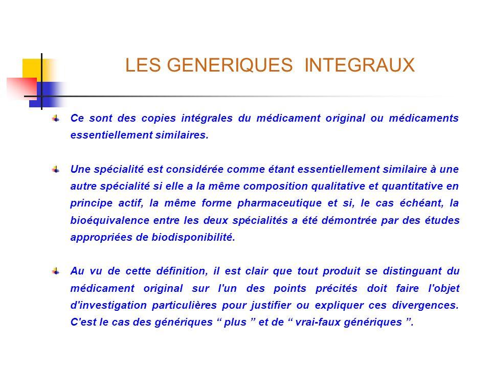 LES GENERIQUES INTEGRAUX