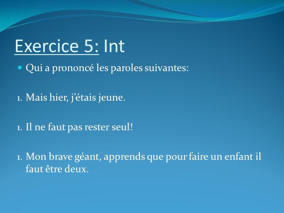 Exercice 5: Int Qui a prononcé les paroles suivantes: