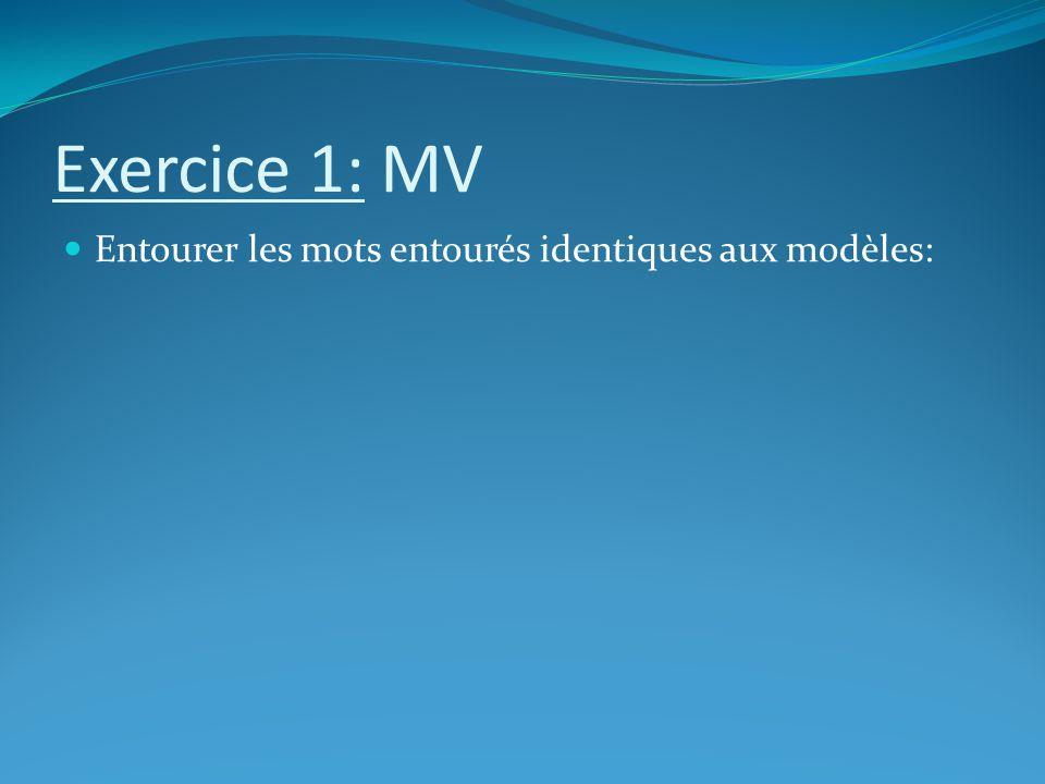 Exercice 1: MV Entourer les mots entourés identiques aux modèles: