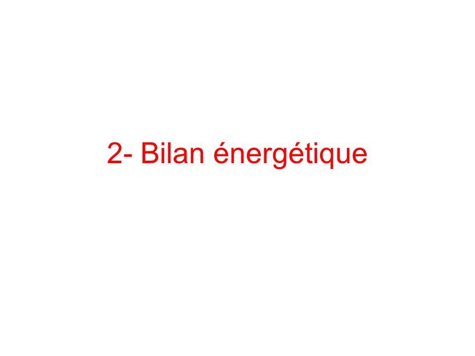 2- Bilan énergétique
