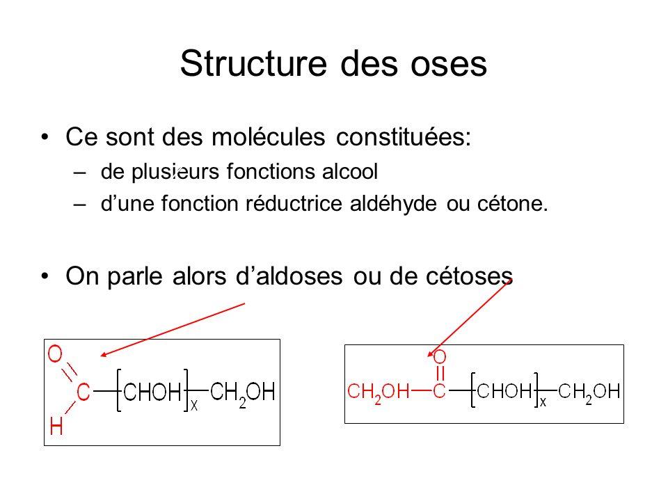 Structure des oses Ce sont des molécules constituées: