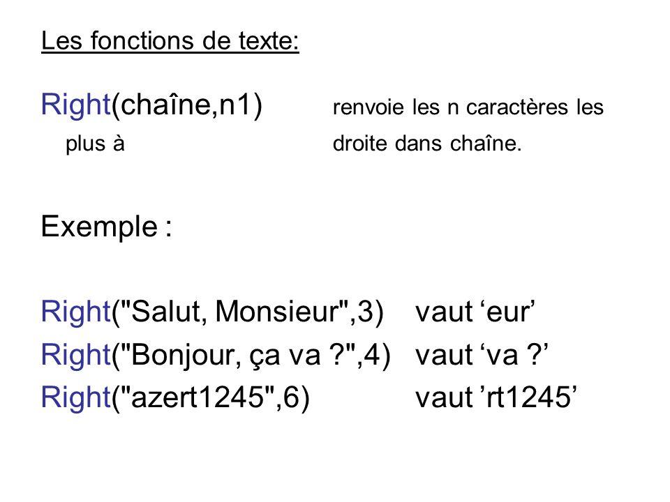 Les fonctions de texte: