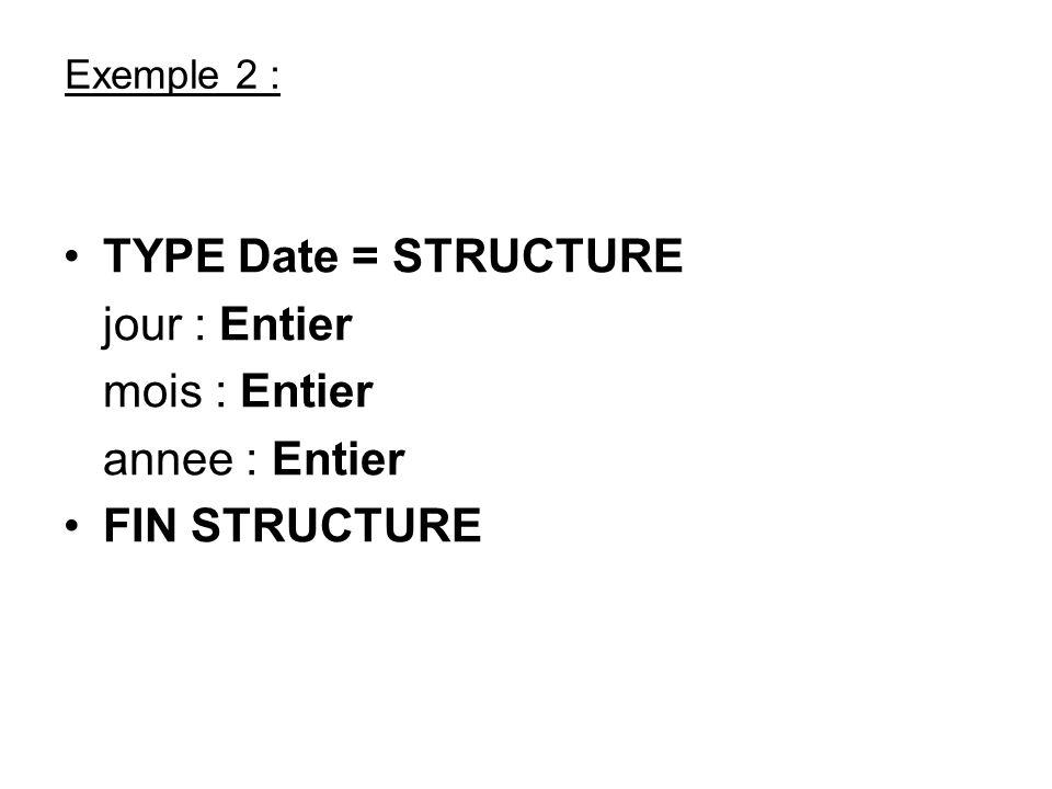TYPE Date = STRUCTURE jour : Entier mois : Entier annee : Entier