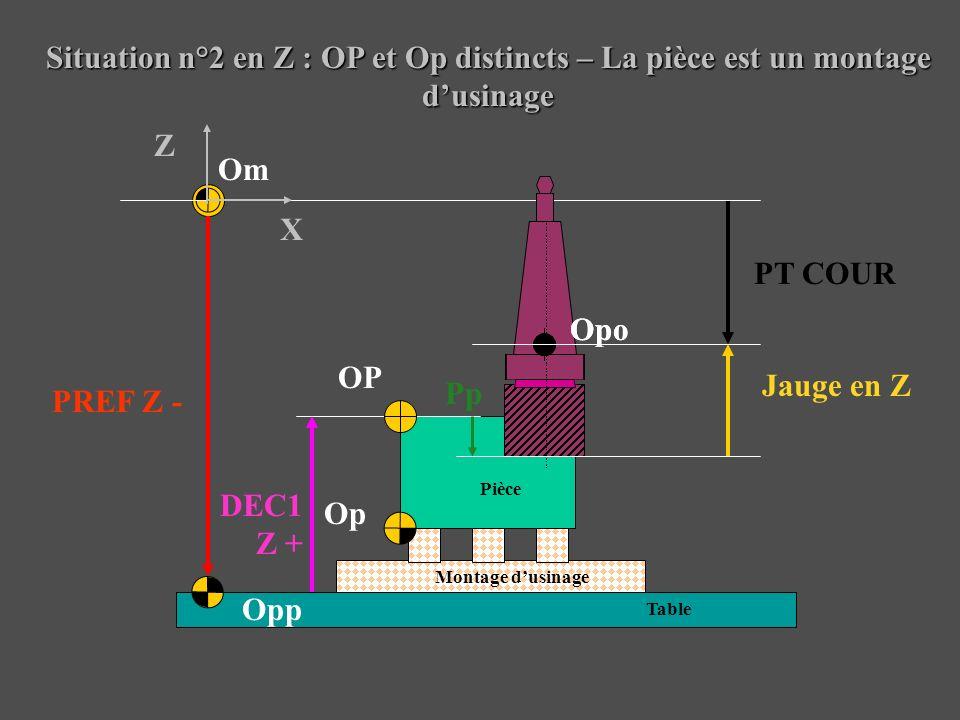 Situation n°2 en Z : OP et Op distincts – La pièce est un montage d'usinage