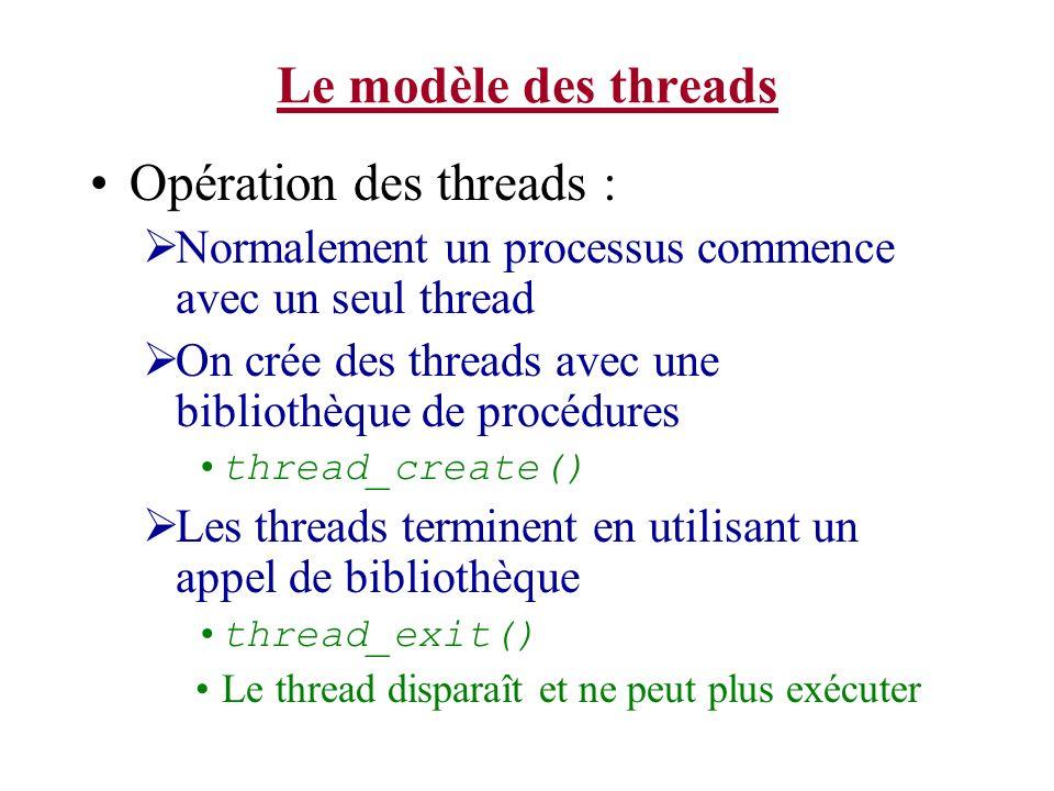 Opération des threads :