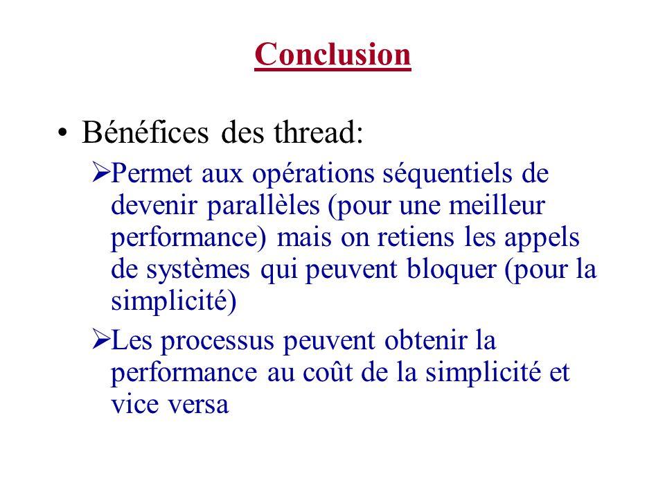 Conclusion Bénéfices des thread: