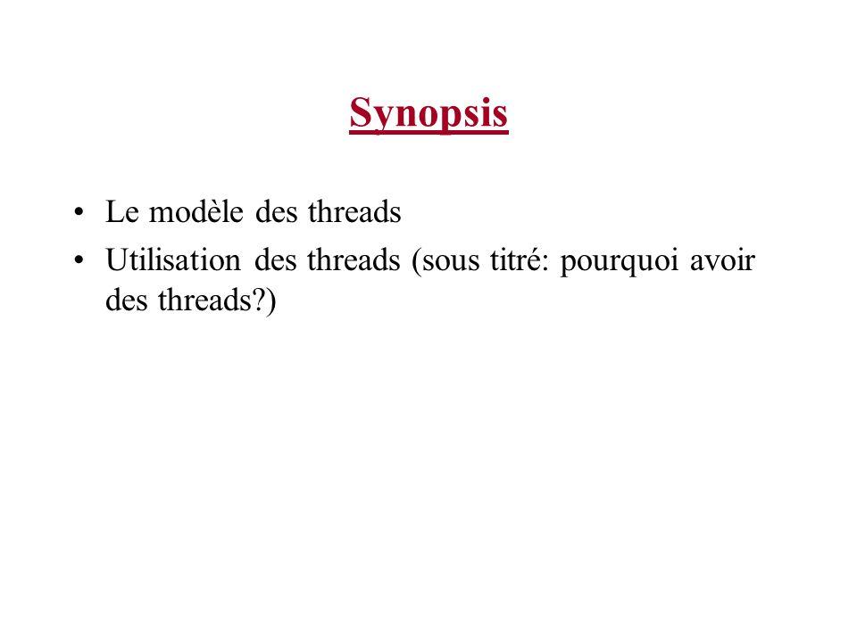 Synopsis Le modèle des threads