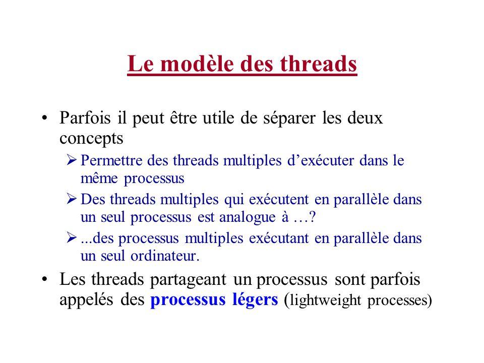 Le modèle des threads Parfois il peut être utile de séparer les deux concepts. Permettre des threads multiples d'exécuter dans le même processus.