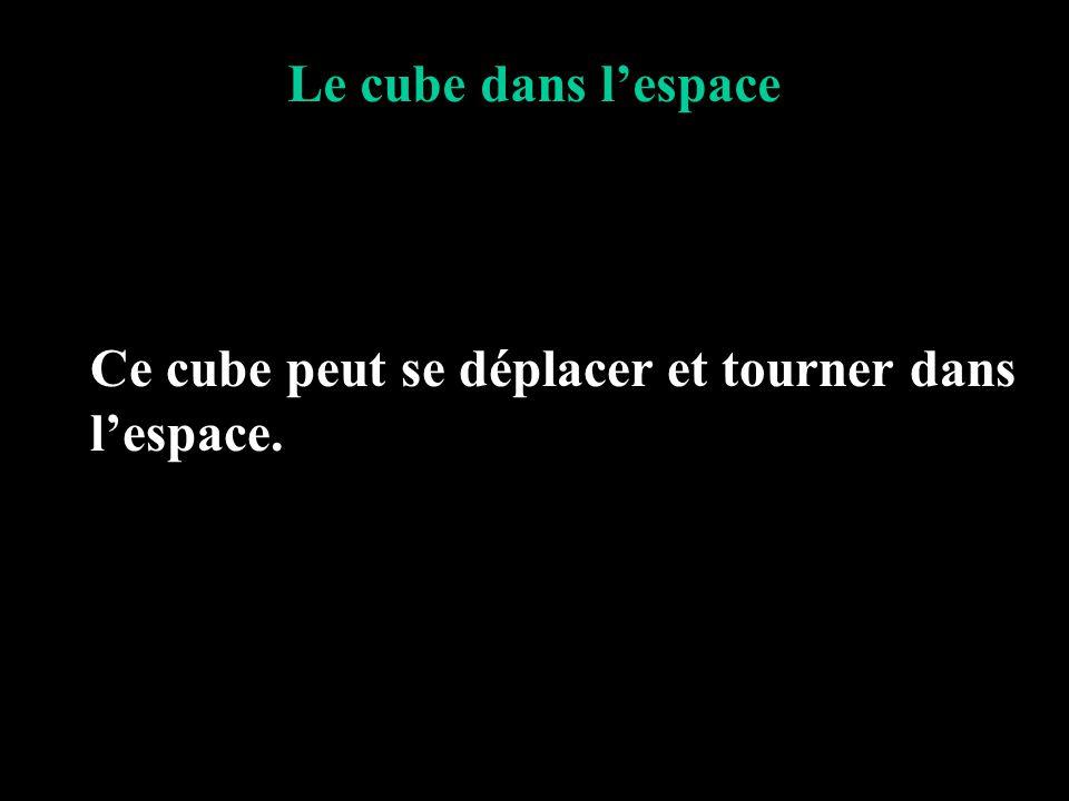 Le cube dans l'espace Ce cube peut se déplacer et tourner dans l'espace.