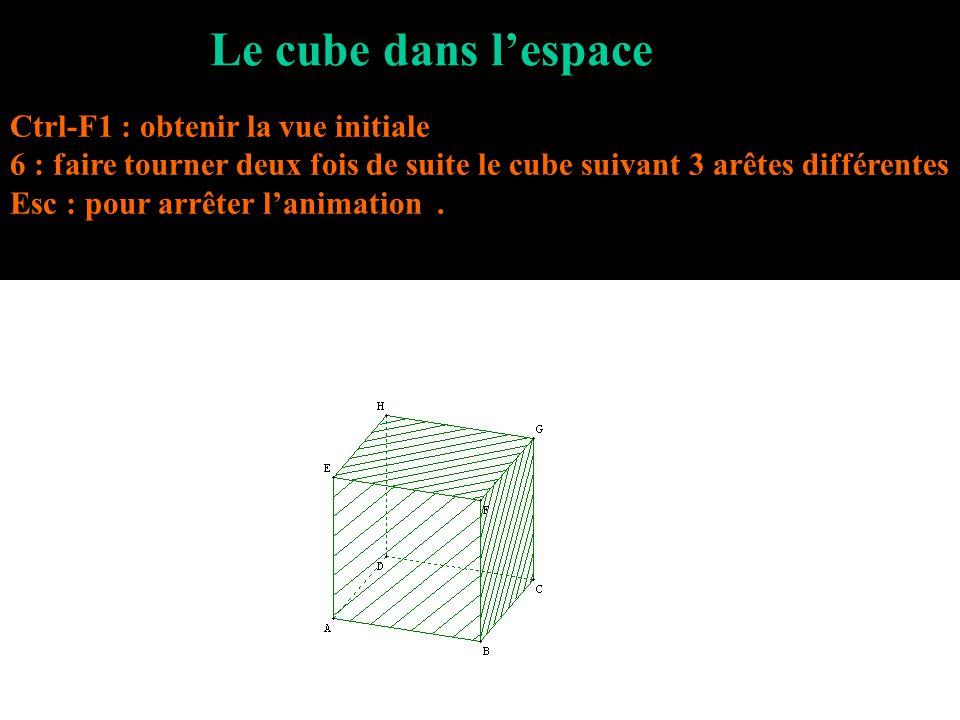 Le cube dans l'espace Ctrl-F1 : obtenir la vue initiale