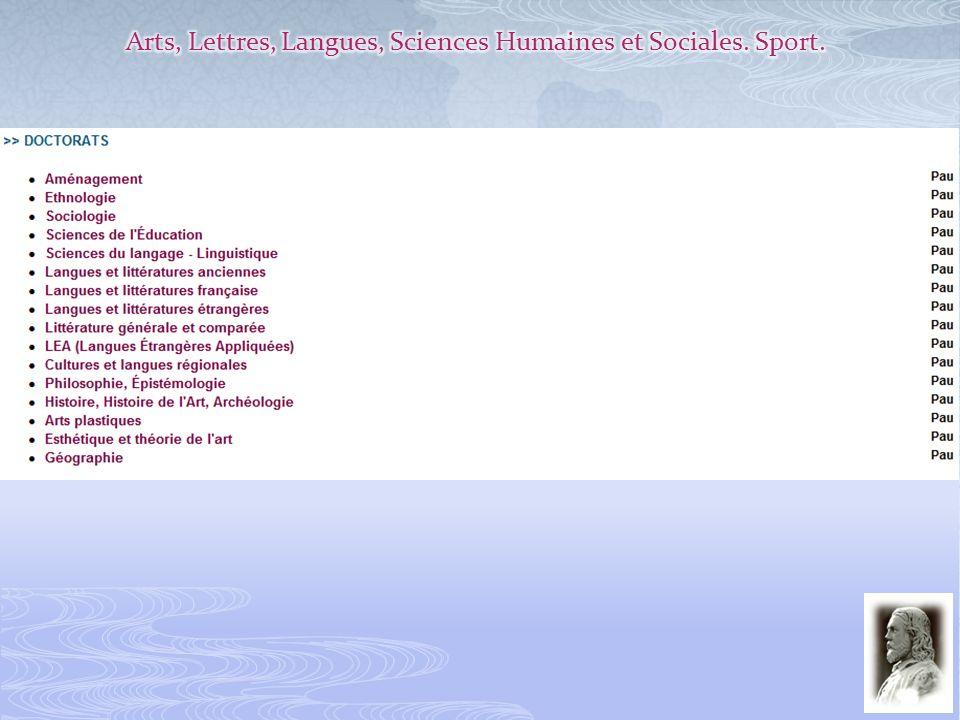 Arts, Lettres, Langues, Sciences Humaines et Sociales. Sport.