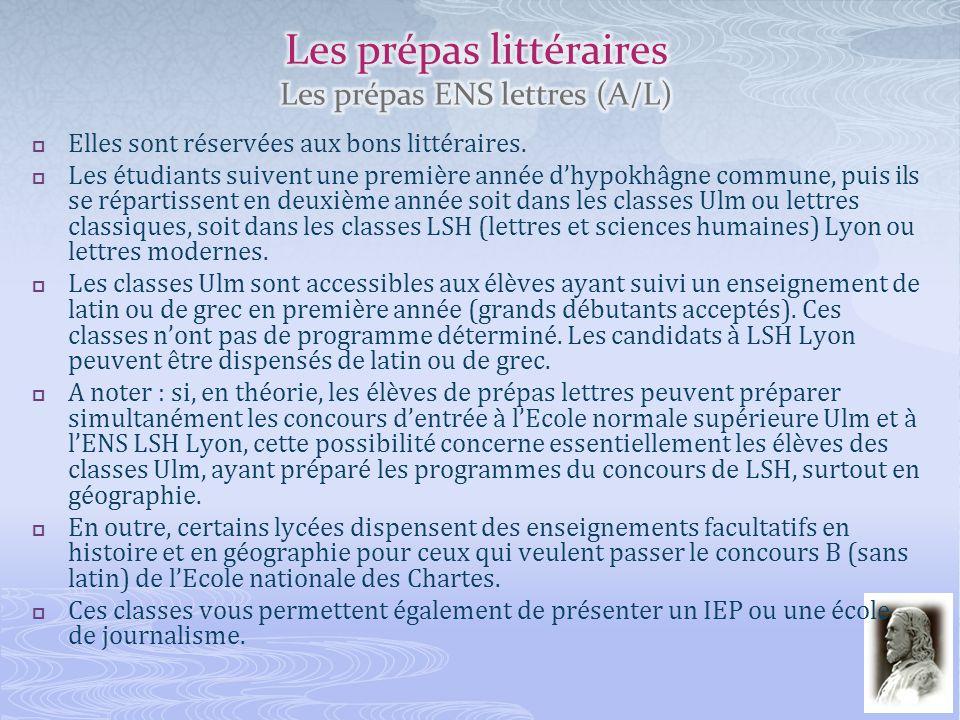 Les prépas littéraires Les prépas ENS lettres (A/L)