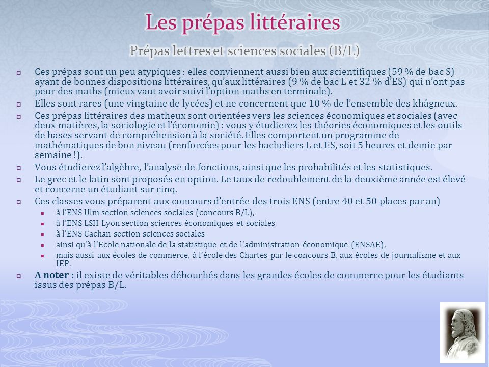 Les prépas littéraires Prépas lettres et sciences sociales (B/L)