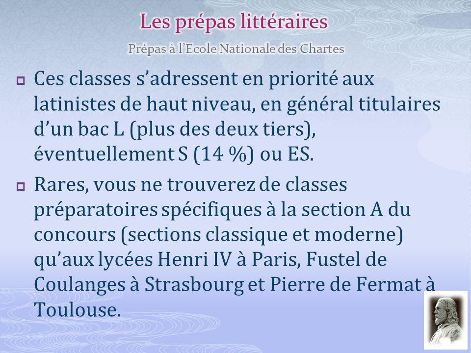 Les prépas littéraires Prépas à l'Ecole Nationale des Chartes