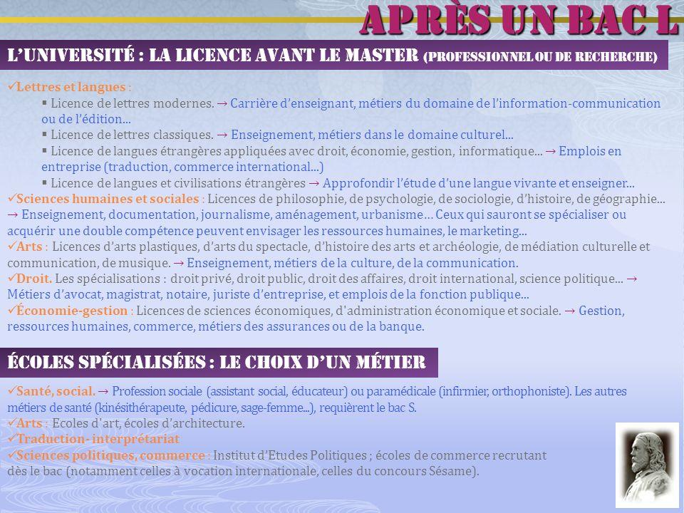 après un bac L L'Université : la licence avant le master (professionnel ou de recherche) Lettres et langues :