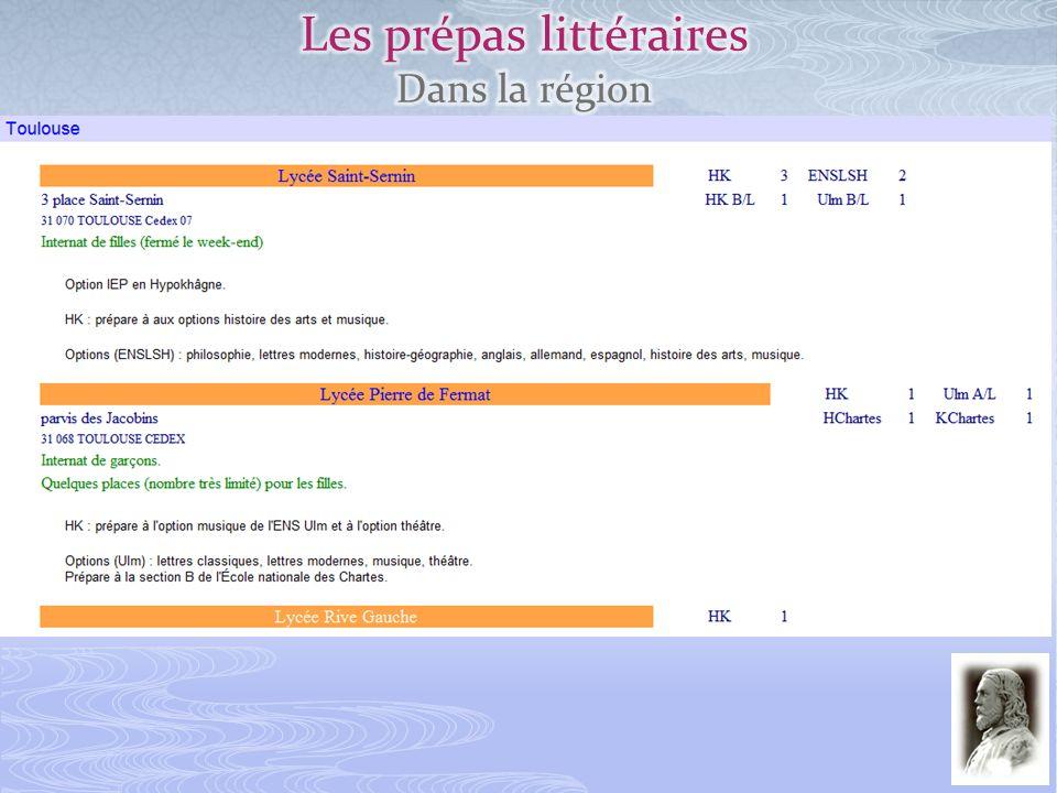 Les prépas littéraires Dans la région