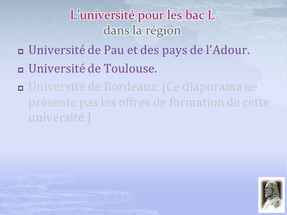 L'université pour les bac L dans la région