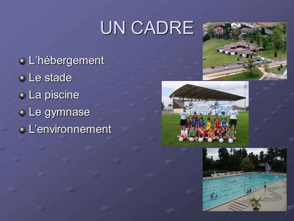 UN CADRE L'hébergement Le stade La piscine Le gymnase L'environnement