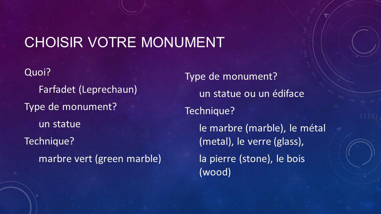 Choisir votre monument