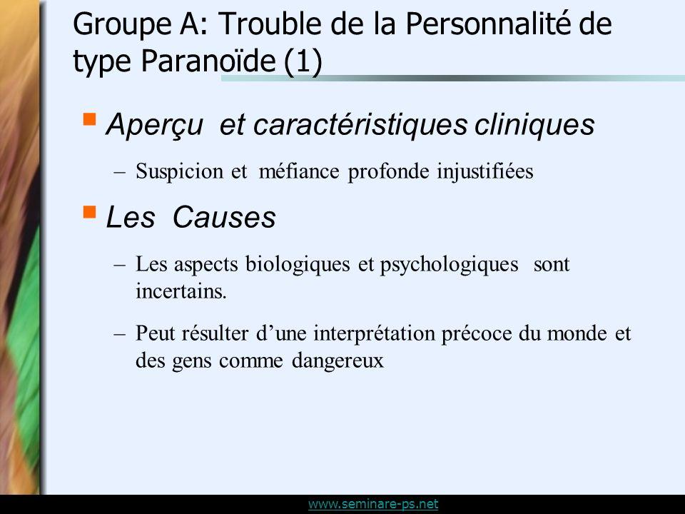 Groupe A: Trouble de la Personnalité de type Paranoïde (1)