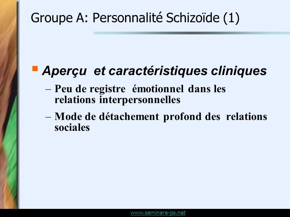 Groupe A: Personnalité Schizoïde (1)