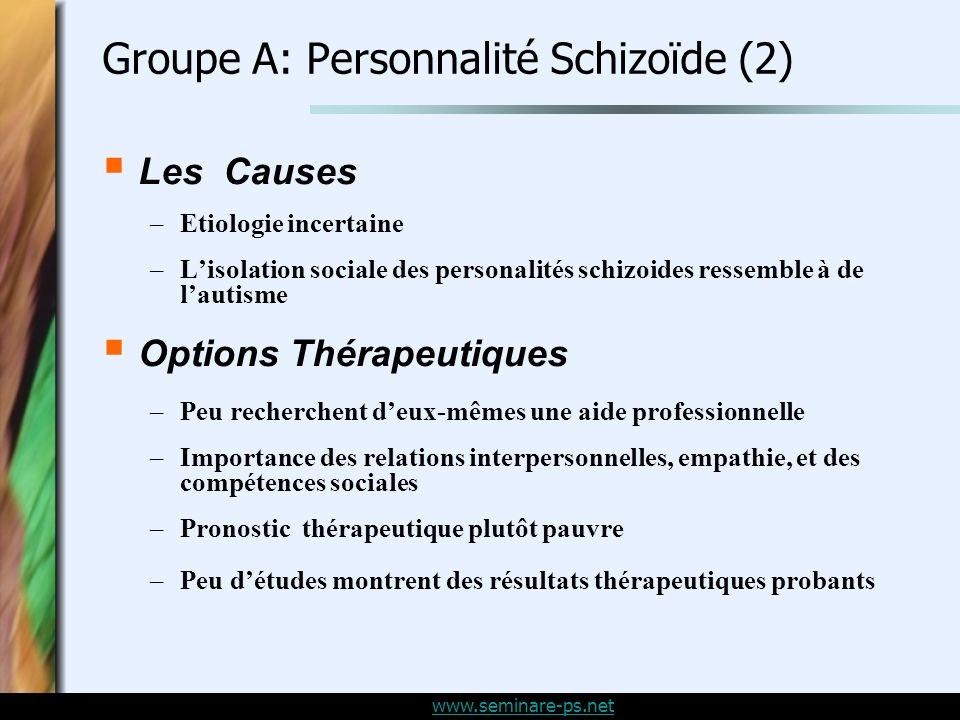 Groupe A: Personnalité Schizoïde (2)