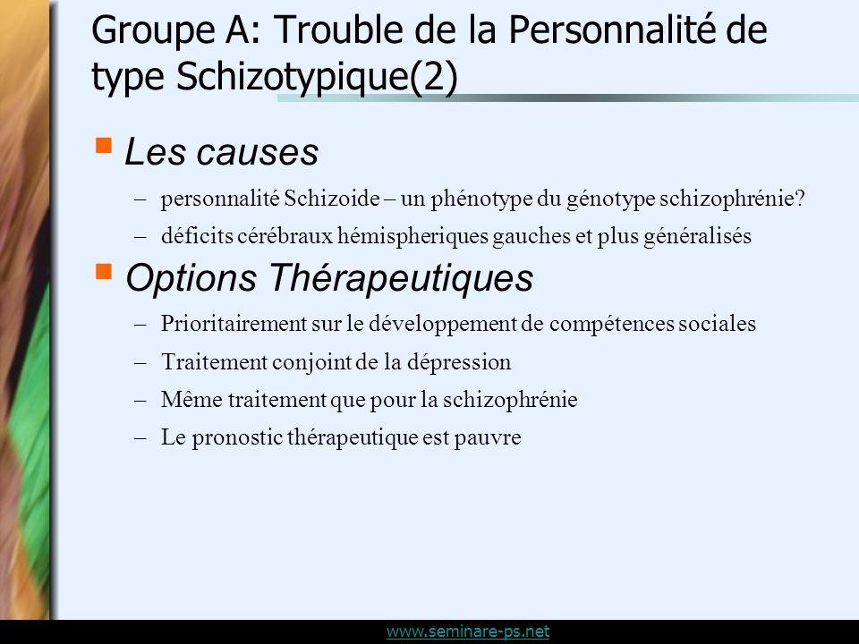 Groupe A: Trouble de la Personnalité de type Schizotypique(2)