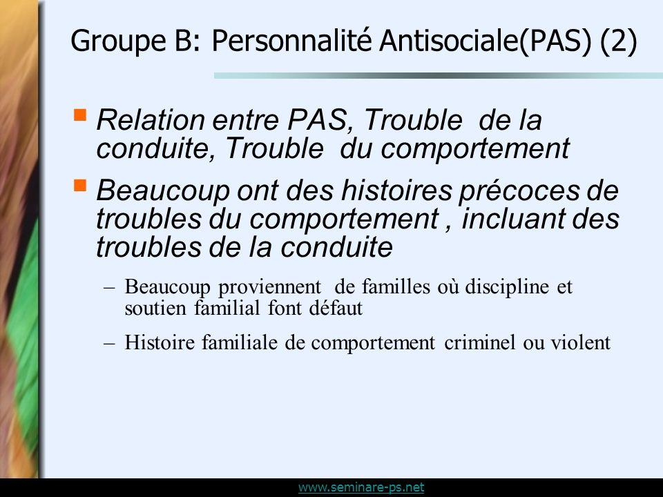 Groupe B: Personnalité Antisociale(PAS) (2)