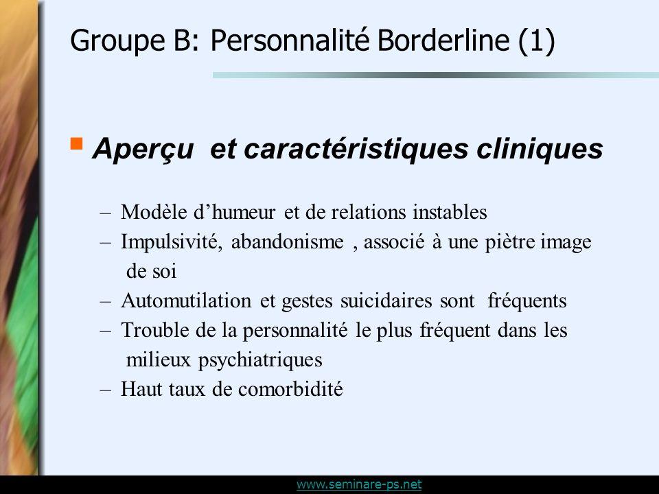 Groupe B: Personnalité Borderline (1)