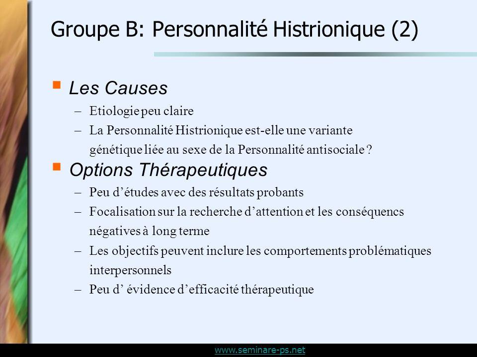 Groupe B: Personnalité Histrionique (2)
