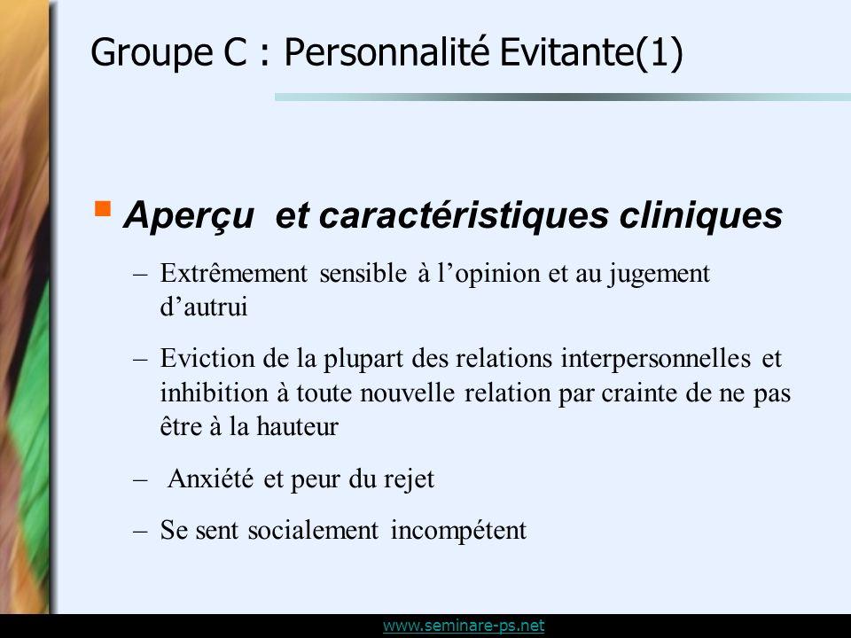 Groupe C : Personnalité Evitante(1)