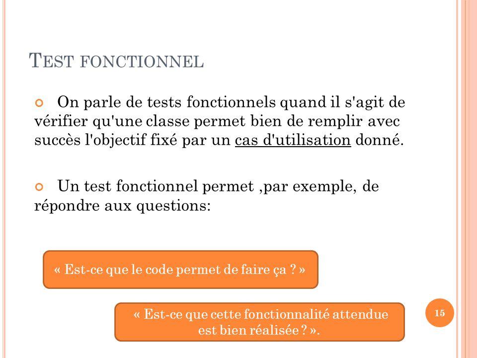 Test fonctionnel